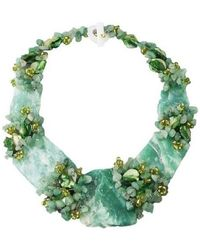 Aeravida - Chunky Jade And Seashells Link Toggle Necklace - Lyst