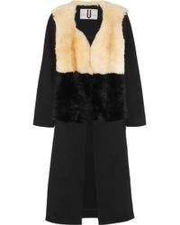 Topshop Unique Shearling and Twill Coat - Lyst