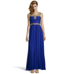 Notte by Marchesa Royal Blue Embellished Silk Chiffon Illusion Neck Gown - Lyst