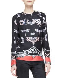 Versace Dragonfly Printed Silk Top - Lyst