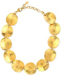 Jose & Maria Barrera Gold-Plated Hammered Disc Necklace - Lyst