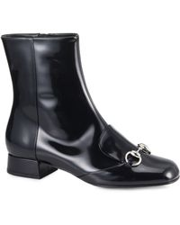 Gucci Lillian Horsebit Patent Leather Ankle Boots - Lyst