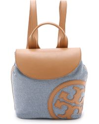 Tory Burch Lonnie Canvas Backpack - Tory Navy/Vachetta - Lyst