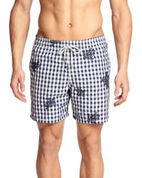 Vilebrequin Mistral Embroidered Check-Print Swim Trunks - Lyst
