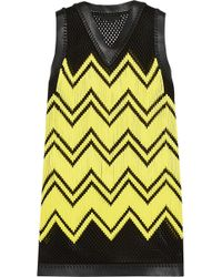 Alexander Wang Leathertrimmed Woven Mesh Mini Dress - Lyst