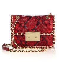 MICHAEL Michael Kors | Carine Medium Quilted Snake-embossed Leather Shoulder Bag | Lyst