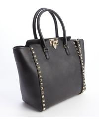 Valentino Leather Rockstud Studded Detail Small Convertible Top Handle Tote - Lyst