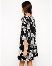 Asos Swing Dress in Mono Floral with 34 Length Sleeves - Lyst