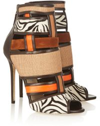 Brian Atwood Irya Leather, Raffia And Calf Hair Ankle Boots - Lyst