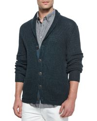 John Varvatos Shawl-Collar Knit Cardigan - Lyst