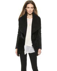 Donna Karan - Slim Jacket with Suede Inserts Black - Lyst