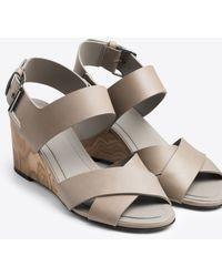Vince | Gwyn Leather Slingback Wedge Sandal | Lyst