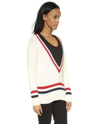 Capulet - Deep V Neck Club Sweater - Cream W/red And Blue - Lyst