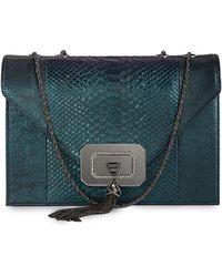 Marchesa - Casati Large Python Shoulder Bag Teal - Lyst