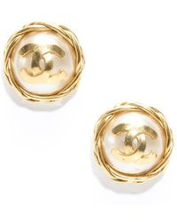 Chanel Preowned Faux Pearl Gold Cc Clip On Earrings - Lyst