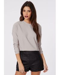 Missguided Therese Rib Long Sleeve Sweat Grey - Lyst