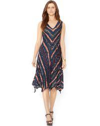 Lauren by Ralph Lauren Petite Sleeveless Southwesternprint Dress - Lyst