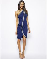 Asos Pearl Embellished Bodyconscious Dress - Lyst
