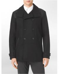 Calvin Klein White Label Classic Fit Wool Blend Peacoat - Lyst