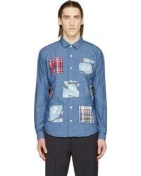 Nanamica Blue Wind Patchwork Shirt - Lyst