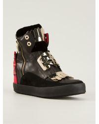 Cesare Paciotti Tartan Detail Hi-Top Sneakers - Lyst