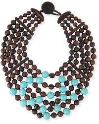 Viktoria Hayman - Multi-row Wood & Turquoise Bead Necklace - Lyst