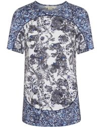 O'2nd - Blue and White Floral Print Jersey Tshirt - Lyst