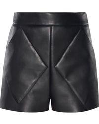 Balenciaga Diamond-Seam Bonded Leather Shorts - Lyst