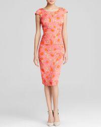 Tracy Reese Dress - Cap Sleeve Floral Print Crepe Sheath - Lyst
