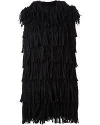 Lanvin Black Fringe Vest - Lyst