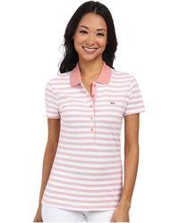 Lacoste Short Sleeve Slim Fit Stripe Pique Polo Shirt - Lyst