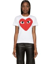 Play Comme des Garçons White And Red Double Heart T_Shirt - Lyst