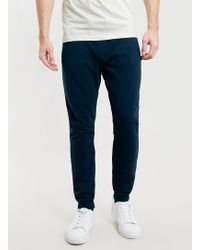 Topman Navy Contrast Waistband Pique Skinny Fit Joggers - Lyst