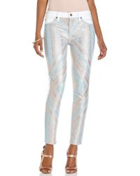 7 For All Mankind White Aztec Print Front Skinny Jeans - Lyst