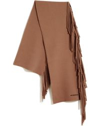 Burberry | Felted Fringed Knit Scarf | Lyst