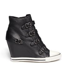 Ash 'United' Leather Wedge Sneakers - Lyst