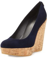 Stuart Weitzman Corkswoon Suede Wedge Pump - Lyst