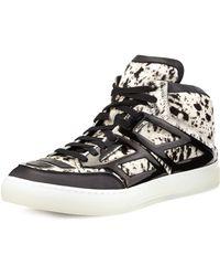 Alejandro Ingelmo Speckled Calfhair Hightop Sneaker Whiteblack - Lyst