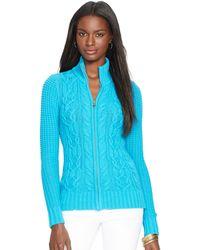 Ralph Lauren Cable-Knit Full-Zip Cardigan - Lyst
