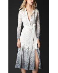 Burberry Dégradé Lace Belted Dress - Lyst