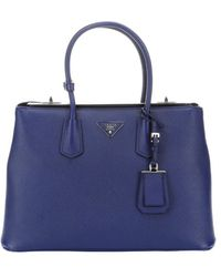 Prada Ink Saffiano Leather Large Top Handle Tote - Lyst