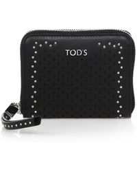 Tod's | Small Studded Laser-cut Leather Zip Wallet | Lyst
