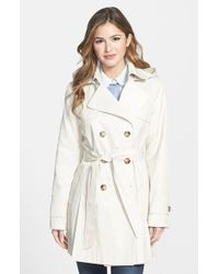 DKNY - 'abby' Double Breasted Trench Coat With Detachable Hood - Lyst