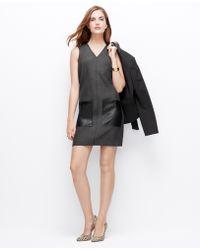 Ann Taylor Faux Leather Pocket Shift Dress - Lyst