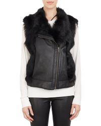 Helmut Lang Leather  Fur Asymmetric-zip Vest - Lyst