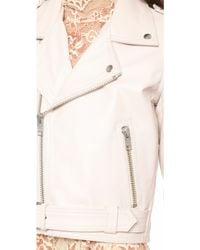 Ganni - Angela Leather Biker Jacket - White Smoke - Lyst