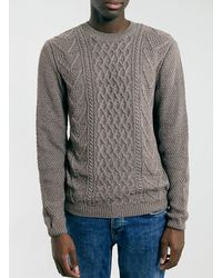 Topman Light Brown Moss Cable Crew Jumper - Lyst