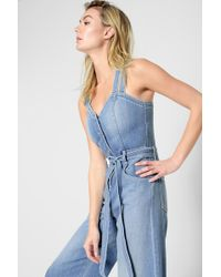 0e19a5e877a 7 For All Mankind - Button Front Culotte Playsuit In Luxe Lounge Coastal  Blue - Lyst