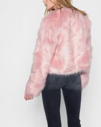 7 For All Mankind - Faux Fur Coat In Pink - Lyst