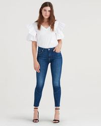 7 For All Mankind - High Waist Ankle Skinny With Architecture At Cut Off Hem In Saguaro - Lyst